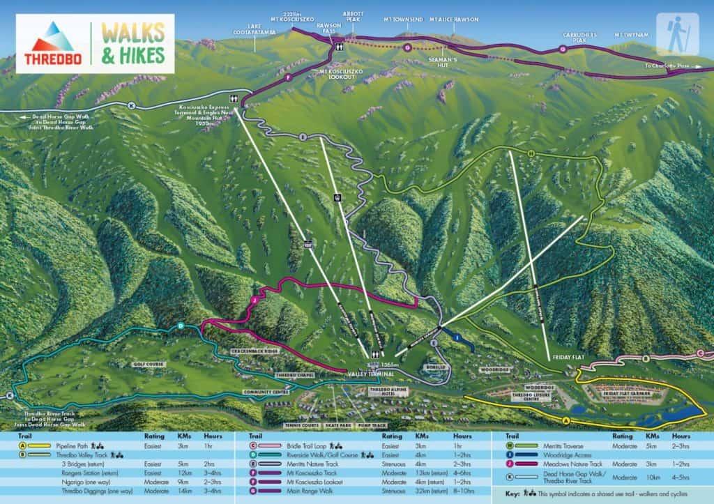 Mount Kosciuszko Trail Map